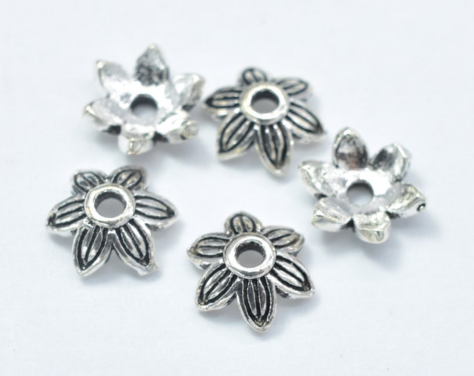 10pcs 925 Sterling Silver Bead Caps-Antique Silver, 7x2.4mm Flower Bead Caps, Hole 1.3mm (007902003)