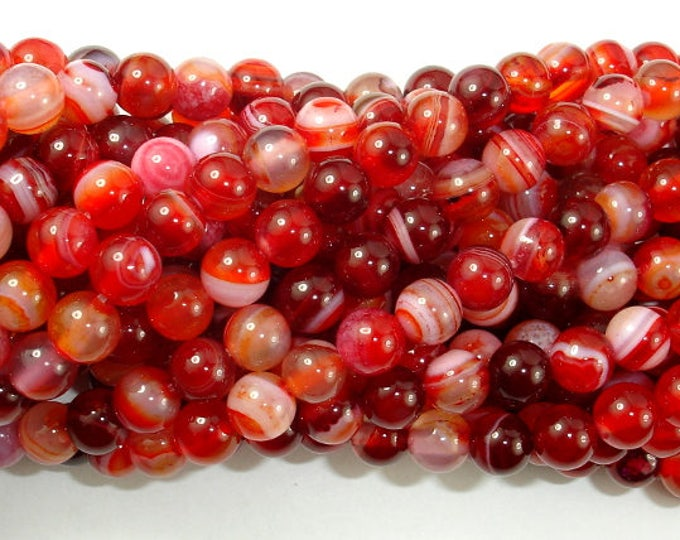 Banded Agate Beads, Red & White, 6mm Round Beads, 15 Inch, Full strand, Approx 62 beads, Hole 1mm, A quality (132054022)