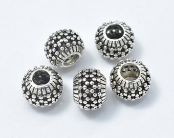 2pcs 925 Sterling Silver Beads-Antique Silver, Big Hole Rondelle Beads, Spacer Beads, 7.8x6mm Hole 3.4mm (007903007)