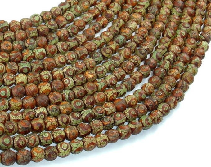 Crackle Tibetan Agate, 6mm Round Beads, 14 Inch, Full strand, Approx 64 beads, Hole 1.2mm (122054263)