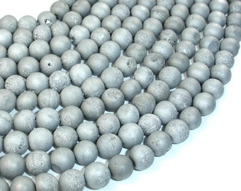 Druzy Agate Beads, Silver Gray Geode Beads, Approx 8 mm(8.5 mm) Round Beads, 15 Inch, Full strand, Approx 46 beads, Hole 1 mm (122054176)