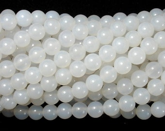 White Agate, 6mm (6.3 mm) Round Beads, 15.5 Inch, Full strand, Approx 65 beads, Hole 1 mm, A quality (122054027)
