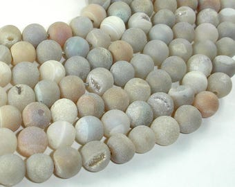 Druzy Agate Beads, Geode Beads, 10mm(10.5mm) Round Beads, 15 Inch, Full strand, Approx 38 beads, Hole 1mm (122054249)