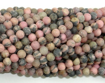 Matte Rhodonite Beads, 4mm (4.5mm) Round Beads, 15 Inch, Full strand, Approx 88 beads, Hole 0.8mm (386054021)
