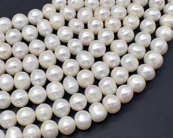 Fresh Water Pearl Beads-White, Approx 9-10mm Potato Beads, 14.5 inch, Full strand, Approx 39 beads, Hole 0.6mm (232050056)