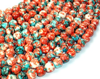 Rain Flower Stone Beads, Red, Blue, 8mm(8.5mm) Round Beads, 15.5 Inch, Full strand, Approx 48 beads, Hole 1 mm, A quality (377054015)