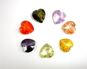 CZ beads, Cubic Zirconia Beads, 16x16mm Faceted Heart Pendant Beads, 1 piece, Hole 1mm, A Grade (HS1616)