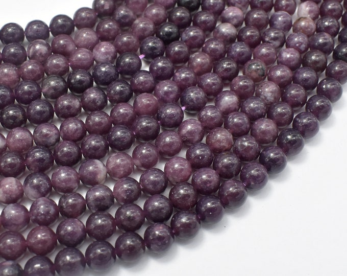 Lepidolite Beads, 6mm (6.3mm) Round Beads, 15.5 Inch, Full strand, Approx 62 beads, Hole 0.8mm (297054007)