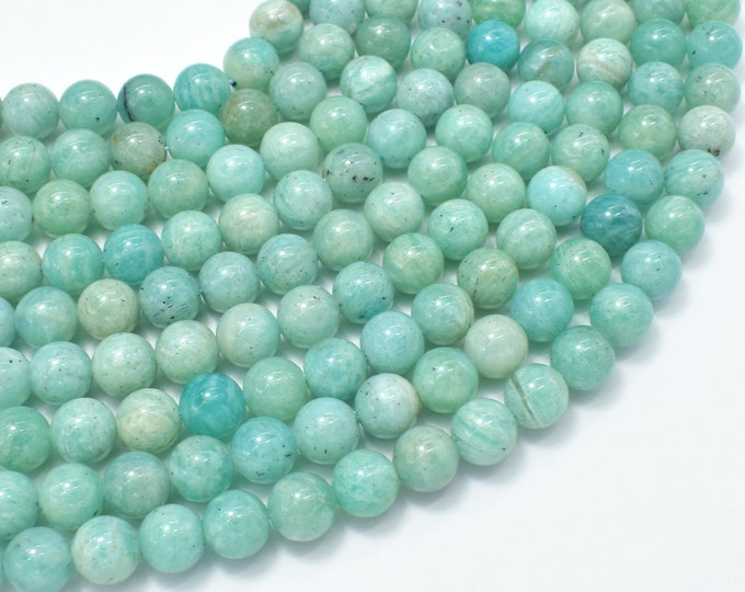 African Amazonite Beads, 8mm Round Beads , 15.5 Inch, Full strand, Approx 50 beads, Hole 1mm (103054011)