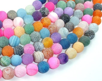 Frosted Matte Agate - Multi Color, 10 mm Round Beads, 15.5 Inch, Full strand, Approx 39 beads, Hole 1 mm (122054182)