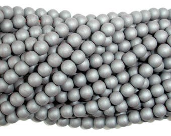 Matte Hematite Beads, 6mm Round Beads, 16 Inch, Full strand, Approx 68 beads, Hole 1mm, A quality (269054015)