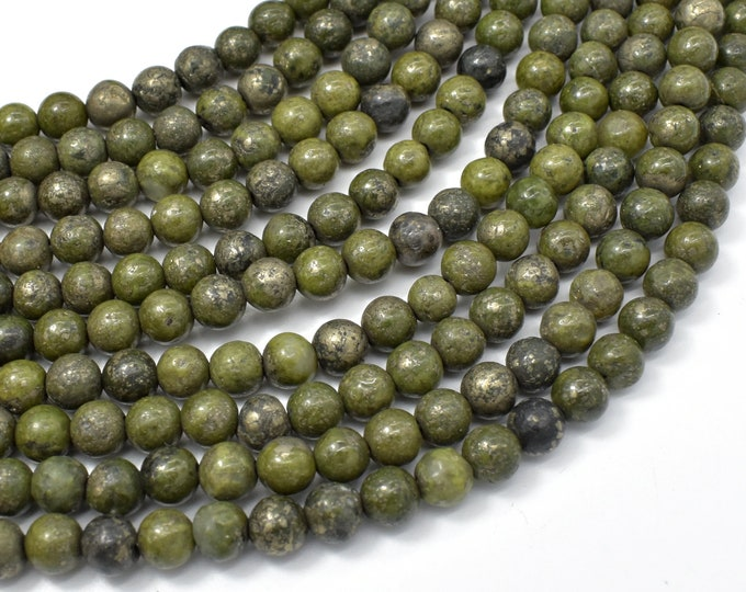 Epidote-Pyrite Inclusion, 6mm(6.3mm) Round beads, 15.5 Inch, Full strand, Approx 64 beads, Hole 1mm (261054001)