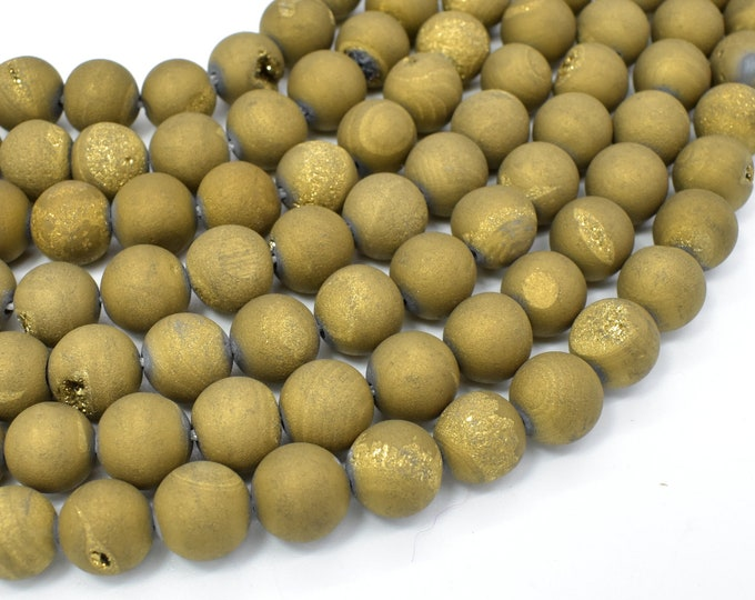 Druzy Agate Beads, Geode Beads, Matte Golden Brown, Approx 10 mm, 15 Inch, Full strand, Approx 37 beads, Hole 1 mm (122054148)