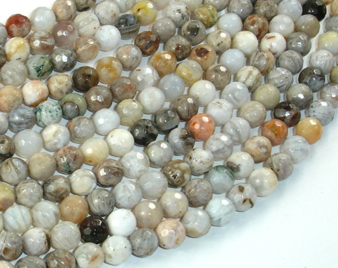 Bamboo Leaf Agate Beads, 6mm(6.4mm) Faceted Round Beads , 15 Inch, Full strand, Approx 64 beads, Hole 1mm, A quality (131025003)