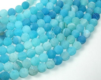 Frosted Matte Agate - Sea Blue, 8mm Round Beads, 15 Inch, Full strand, Approx 48 beads, Hole 1 mm (122054200)