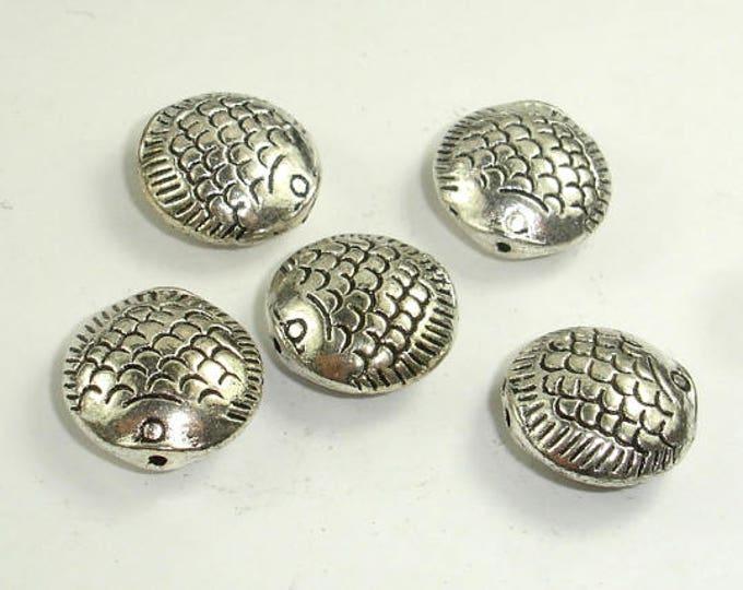 Fish Spacer-Coin, Zinc Alloy, Antique Silver Tone, 14x7mm, 5 pcs, Hole 1mm (006852078)