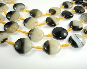 Agate Beads, 20mm Coin Beads, 14 Inch, Full strand, Approx 12 beads, Hole 1.5 mm (122008014)