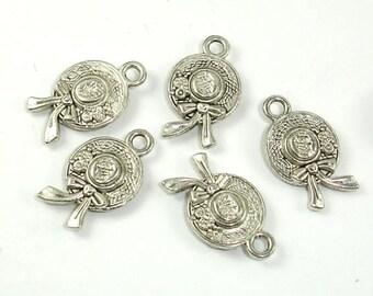 Hat Charms, Zinc Alloy, Antique Silver Tone, 10x17 mm, 20 pcs, Hole 1.8mm (006873095)
