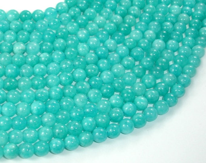 Sponge Quartz Beads-Teal, 6mm (6.5mm) Round Beads, 15 Inch, Full strand, Approx 60 beads, Hole 1mm, A quality (446054004)