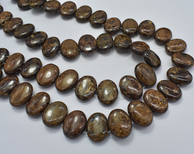 Bronzite Beads, 12x16mm Double Hole Oval Beads, 15.5 Inch, Full strand, Approx 34 beads, Hole 1mm (174030005)