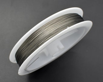 Tiger Tail Beading Wire, Silver Tone, 0.38mm, 100meters/328feet, 1 Roll (006875004)