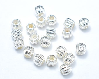 10pcs 4mm 925 Sterling Silver Beads, 4mm Round Beads, Jewelry Findings, Hole 2mm (007903001)
