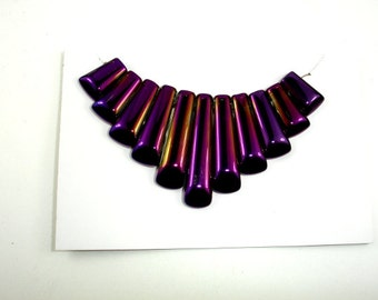Quartz Beads, Coated Purple, Top Drilled Graduated Stick, 10 x 16mm - 10 x 40 mm, 11 pieces - 1 Set, Hole 1 mm (362059004)