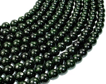 Green Goldstone Beads, 8 mm Round Beads, 15 Inch, Full strand, Approx 49 beads, Hole 1 mm, A quality (253054001)