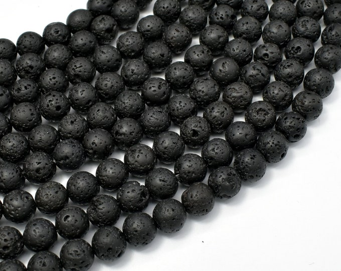 Black Lava Beads, Round, 8mm(8.5mm), 15 Inch, Full strand, Approx 47 beads, Hole 1 mm (300054020)