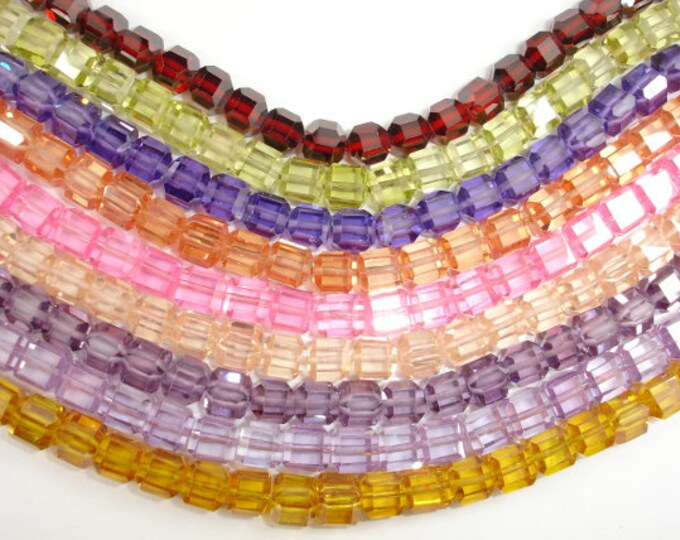 Cubic Zirconia Beads, CZ beads, 6 x 6mm Faceted Cube Beads, 6 Inch, 1 strand, 25 beads, Hole 0.8 mm, A quality (CB0606)