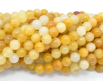 Yellow Jade Beads, Round, 6mm(6.5mm), 15.5 Inch, Full strand, Approx 61 beads, Hole 1 mm, A quality (440054008)