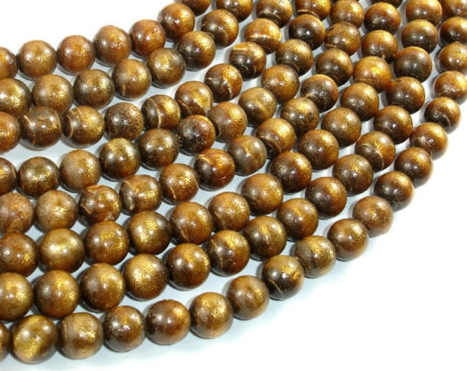 Gold Coral Beads, 8mm Round Beads, Mala Beads, 34 Inch, Full strand, 108 beads, Hole 0.8mm (236054004)