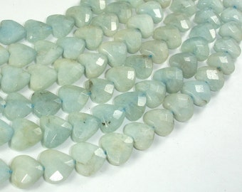 Aquamarine Beads, 12x12 Faceted Heart Beads, 16 Inch, Full strand, Approx 37 beads, Hole 1mm (123019001)