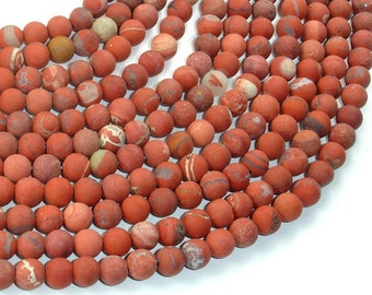 Matte Red Jasper Beads,6mm (6.5mm) Round Beads, 15 Inch, Full strand, Approx 61 beads, Hole 1mm (371054011)
