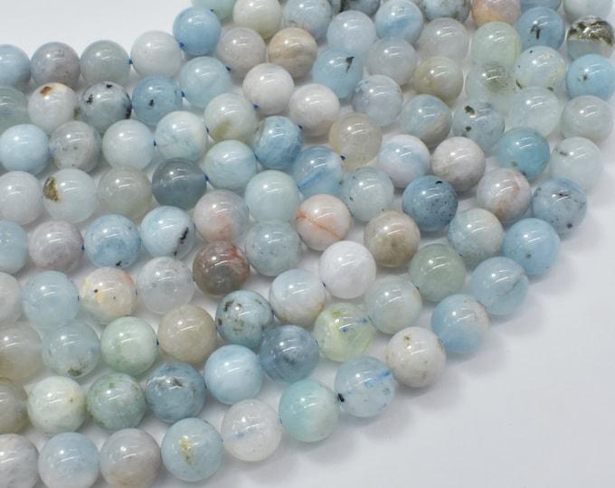 Aquamarine Beads, 8mm (8.3mm) Round Beads, 15.5 Inch, Full strand, Approx 48 beads, Hole 1mm (123054023)
