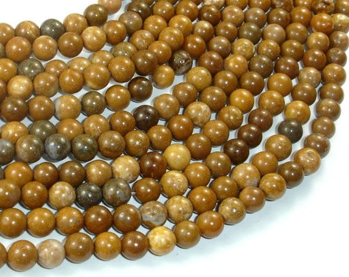Agate Beads-Brown, 6mm(6.5mm) Round Beads, 15 Inch, Full strand, Approx 61 beads, Hole 1mm (122054282)
