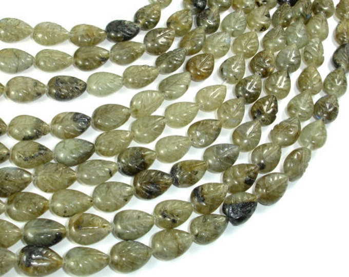 Labradorite Beads, 8x10mm Carved Leaf Beads, 15.5 Inch, Full strand, Approx 33 beads, Hole 1mm (295044001)