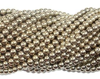 Hematite Beads-Gold, 4mm Round Beads, 16 Inch, Full strand, Approx 100 beads, Hole 0.8mm, AA quality (269054018)