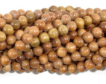 Green Sandalwood Beads, 6mm Round Beads, 25 Inch, Full strand, Approx 108 Beads, Mala Beads (011734001)