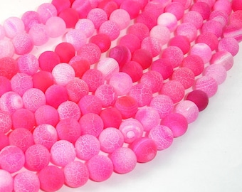 Frosted Matte Agate Beads-Pink, 8mm Round Beads , 15 Inch, Full strand, Approx 48 beads, Hole 1 mm (122054040)