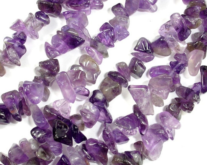 Amethyst Chips, Approx 4 - 9mm, 35 Inch, Full strand, Hole 1 mm (115005001)