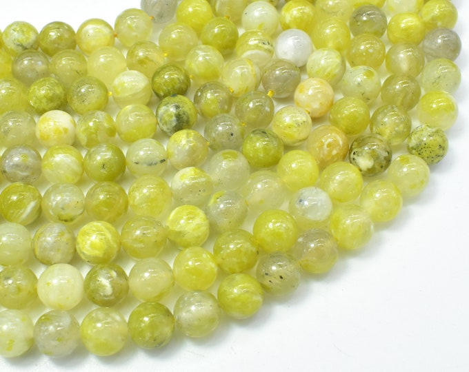 Lemon Marix Quartz Beads, 8mm (8.4mm) Round Beads, 15 Inch, Full strand, Approx 47 beads, Hole 1mm (310054002)