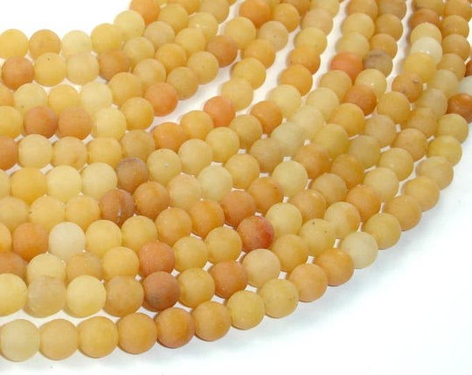 Matte Yellow Aventurine Beads, 6mm(6.7mm) Round Beads, 15.5 Inch, Full strand, Approx 60 beads, Hole 1mm, A quality (439054006)