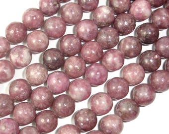 Lepidolite Beads, 10mm(10.5mm) Round Beads, 15.5 Inch, Full strand, Approx 38 beads, Hole 1 mm (297054005)