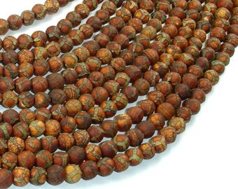 Crackle Tibetan Agate, 6mm Round Beads, 14 Inch, Full strand, Approx 64 beads, Hole 1.2mm (122054264)