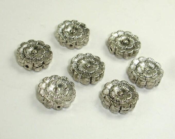 Flower Spacer, Flower Beads, Zinc Alloy, Antique Silver Tone, 12x4mm, 10 pcs, Hole 1mm (006852031)