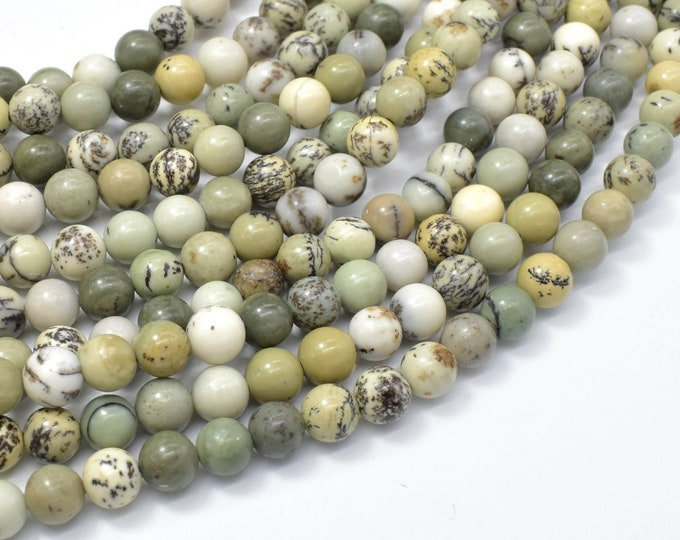 Dendritic Jasper, 6mm (6.5mm) Round Beads, 15.5 Inch, Full strand, Approx 61 beads, Hole 0.8mm (288054042)