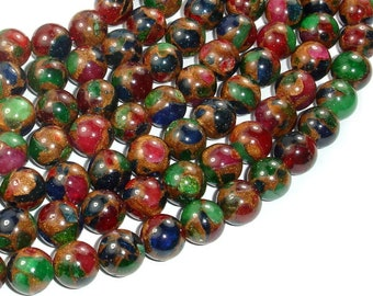 Mosaic Stone Beads-Multi color, 10mm(10.5mm) Round Beads, 15.5 Inch, Full strand, Approx 38 beads, Hole 1mm (327054008)