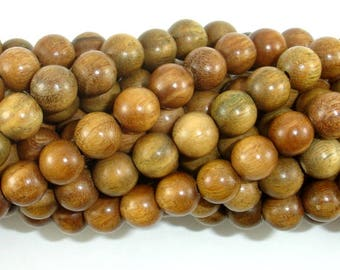 Green Sandalwood Beads, 8mm(8.3mm) Round Beads, 35 Inch, Full strand, Approx 108 Beads, Mala Beads (011734002)