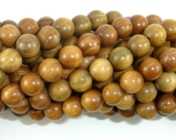 Green Sandalwood Beads, 8mm(8.3mm) Round Beads, 35 Inch, Full strand, Approx 108 Beads, Mala Beads (011734002)